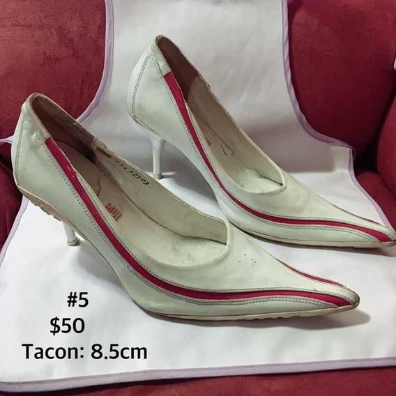 Zapato Para Mujer Blanco Con Línea Roja