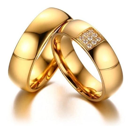 Par Aliança Banhado Ouro Real 18k 6mm - Qualidade - Zirconia