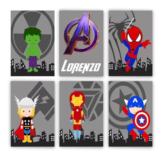 Kit 6 Placas Decorativas Infantil Herois Baby Vingadores