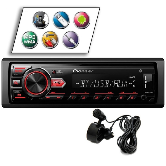 Som Automotivo Pioneer Mvh-298bt Bluetooth - Mp3 Rádio Am/fm