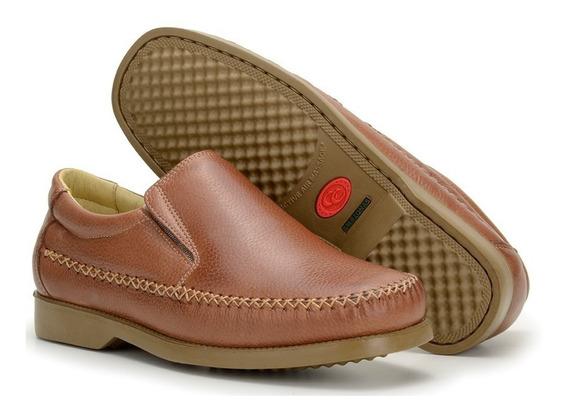 Sapato Masculino Social Mocassim 100% Couro Macio Diabéticos