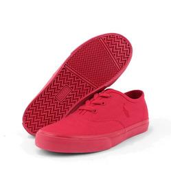 Tenis Polo Ralph Lauren Para Niño De Lona Color Rojo Fuerte
