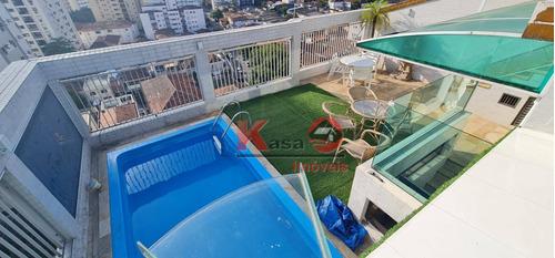 Cobertura Com 3 Dormitórios À Venda, 300 M² Por R$ 1.600.000 - Ponta Da Praia - Santos/sp - Co0224