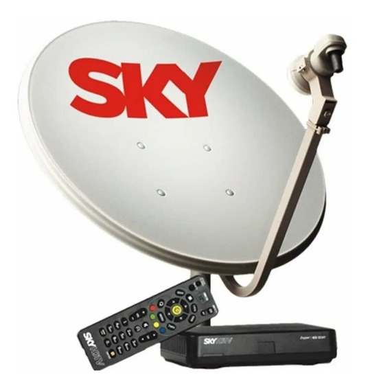 Kit Antena Parabólica Sky 60cm + Receptor Pré Pago Hd