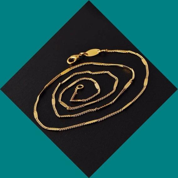 Colar Corrente Gargantilha Banho De Ouro 2mm 47cm Semi Joias