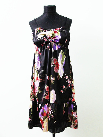 Vestido Negro Ona Saenz Estampado Oriental - Envios