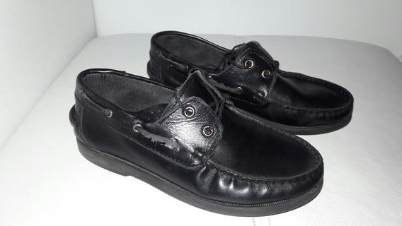 Zapatos 33 Mocasin Vestir Niño Cuero Negros Goshik Leñadores