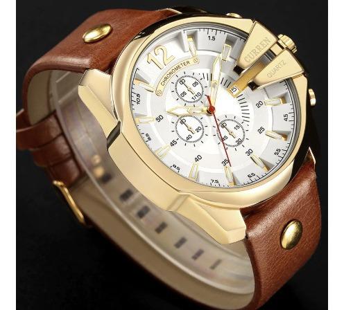 Relógio Masculino Curren 8176 Quartzo Couro Esportivo