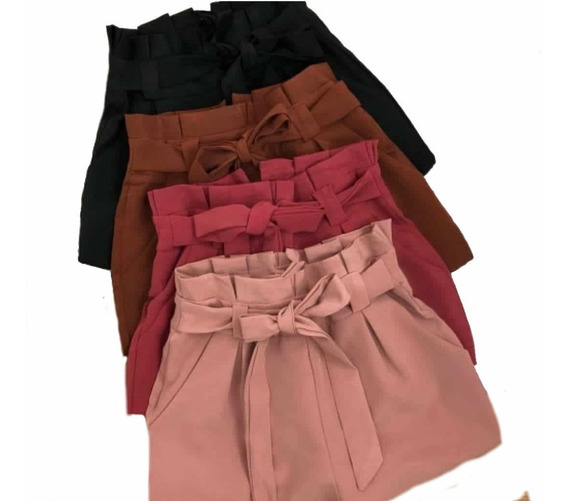 Shorts Feminina Justo Cintura Alta Tecido Bengaline