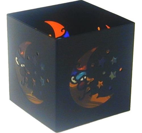Imagen 1 de 1 de Celestial Cuadrado Luna Y Estrella Negro Portavelas De Vidri