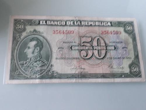 Imagen 1 de 3 de Billete De 50 Pesos 1 De Enero 1953 Colombia