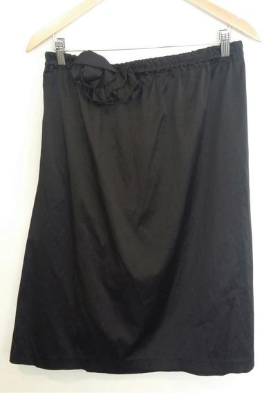 Vestido Strapless Negro Con Flor Nehgro Talle 2