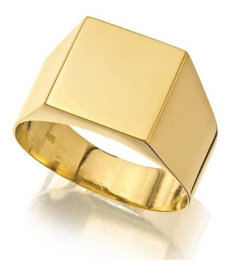 Anel Masculino Chapa Ouro Macico 18k 750 Forrado - 7 Gramas