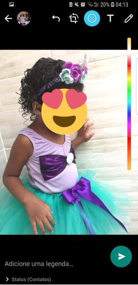 Body E Saia Sereia Infantil Fantasia Ariel Com Tiara