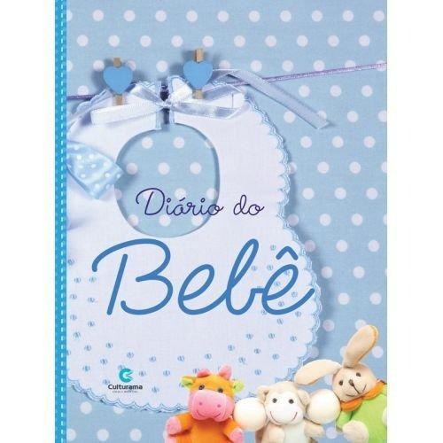 Livro Diário Bebê Acompanhamento Azul Gravidez Chá De Bebê