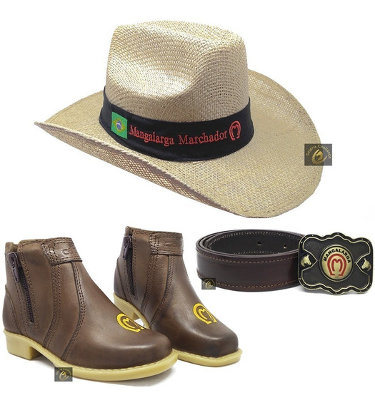Kit Botina Bota Country Infantil + Cinto Cowboy Chapéu Mm