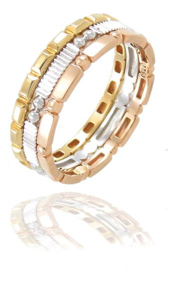 Esfinge Jóias - Conjunto Anéis Aro18 Três Cores Ouro 18k 750