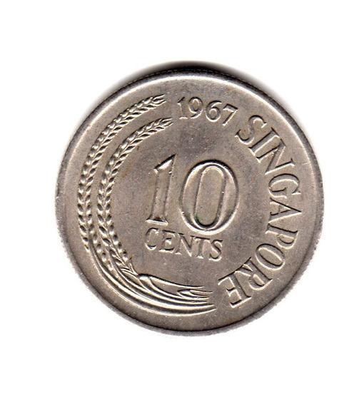 Singapur Moneda 10 Cent Año 1967 Km#3 Asia Caballo De Mar