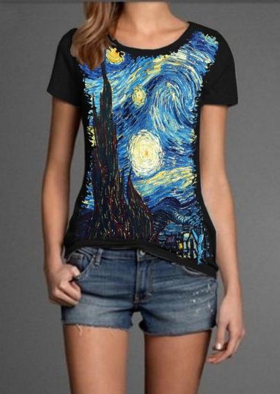 Blusa Babylook Divertida A Noite Estrelada Van Gogh