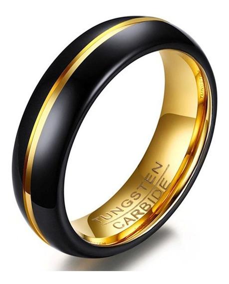 Anel Masculino Tungstênio 6mm Preto Com Dourado