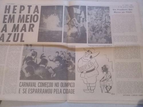 Folha Esportiva Grêmio Hepta Campeão 1968 Raridade