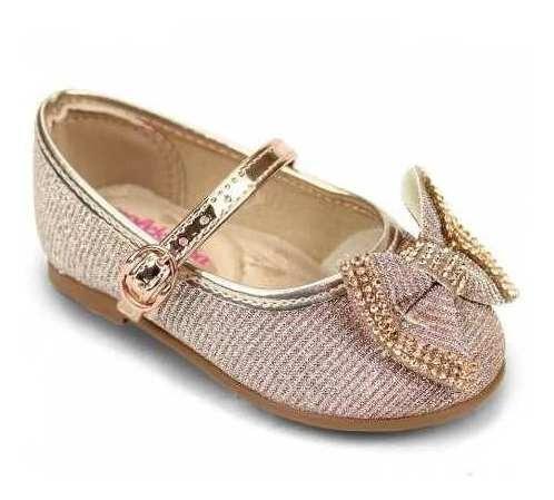 Sapatilha Sapato Molekinha Menina Dourado Laço Calçado Confo