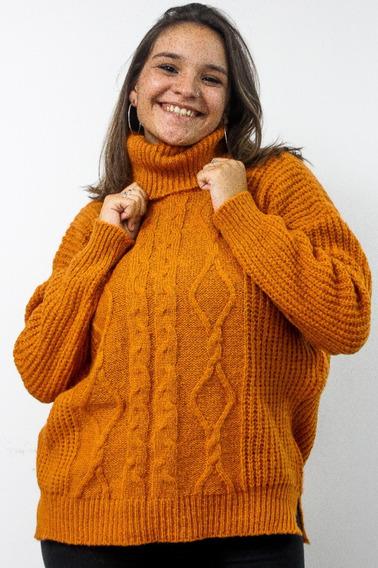 Sweater Lana Mujer Poleron Amplio Invierno Trenza Tejido