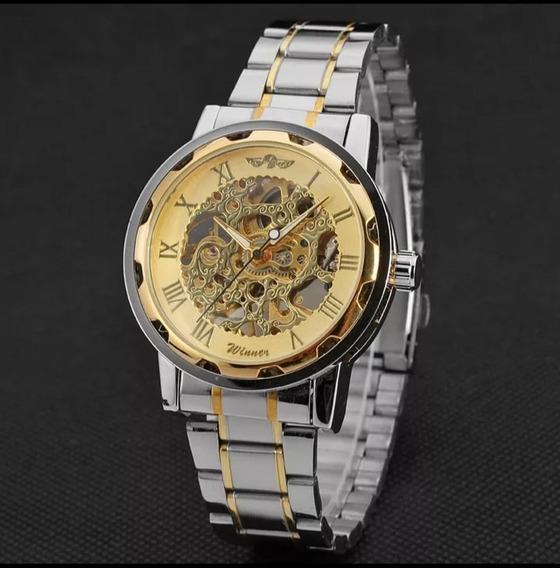 Relógio Masculino Winner Aço Automático Barato Luxo C.122
