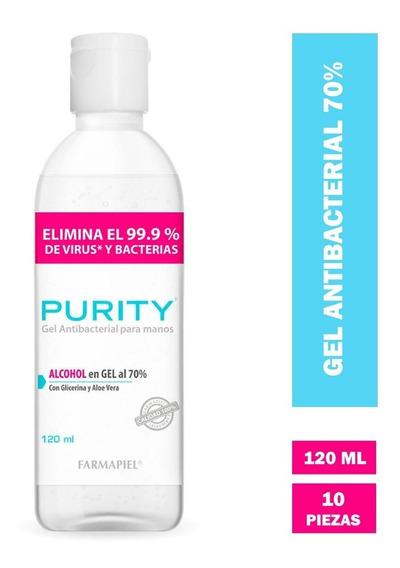 Purity Gel Antibacterial 70% 10 Piezas 120ml