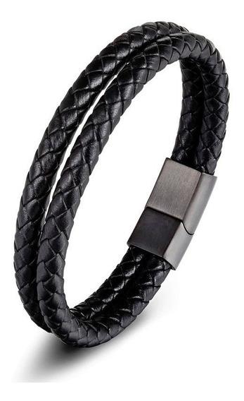Pulseira Trançada Couro + Aço Fecho Magnético Luxo Promoção