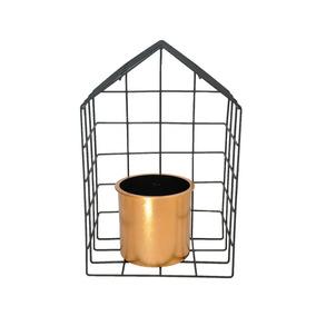 Vaso De Metal E Plástico Geo Forms House Cobre 19,5x13,2x30,