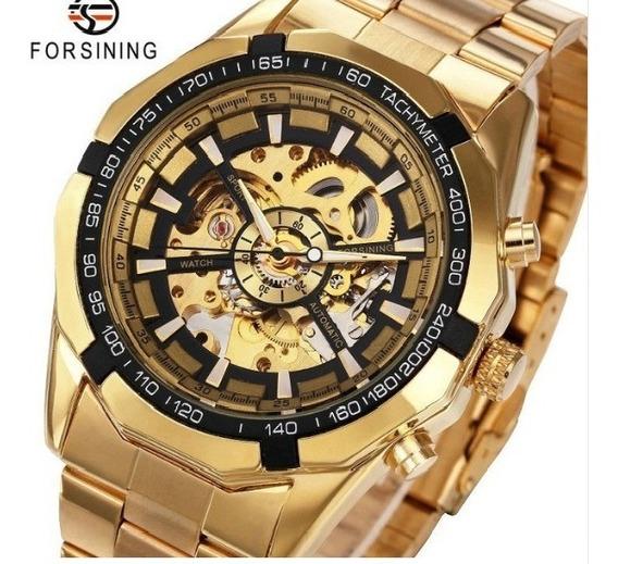 Relógio Forsining Dourado Original - Frete Grátis