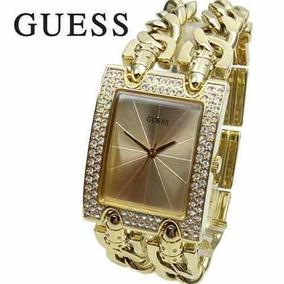 Relógio Guess Strass W95088l1 Dourado 2 Correntes Lindo!