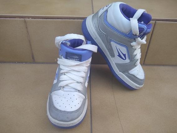 Zapatillas Botitas De Cuero Toper Blancas Con Lila Nº 27