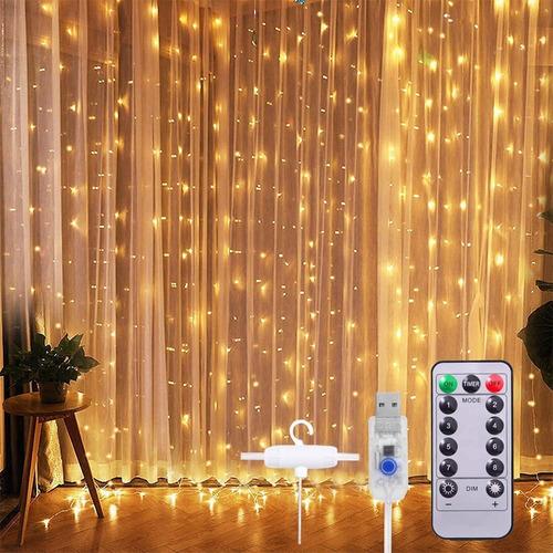 Cortinas Serie Luces 300 Led Decorativas Usb 8 Modos 3x3m