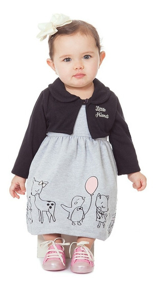 Vestido Bebê Menina Com Bolero Manga Longa Inverno Abrange