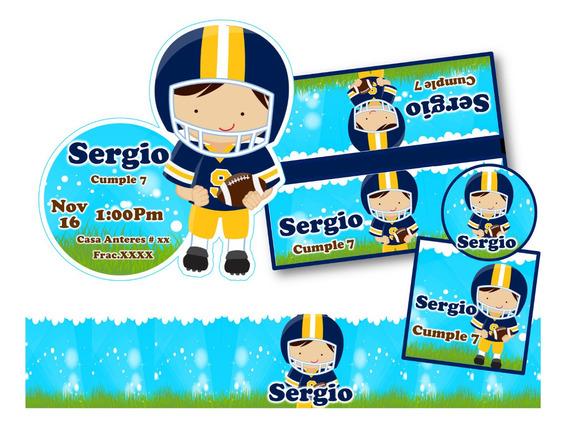 Kit Invitación Kit Imprimible Football Americano Niño