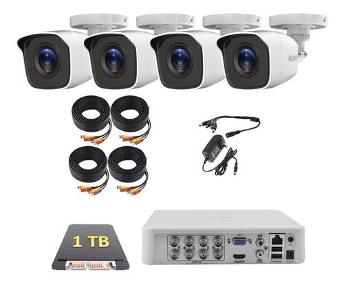 Imagen 1 de 5 de Kit Cctv Dvr 8 Canales - 4 Cámaras Hd 720p Hikvision 1 Tb