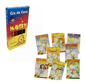 Kit 30 Livrinhos De Colorir 18 X 13 Cm + 30 Caixinhas De Giz