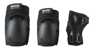 Kit De Protecciones Skate Factory Negro