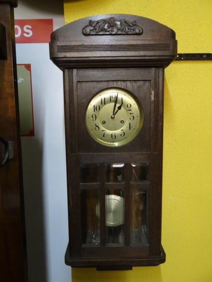 Antigo Relógio De Parede Alemão Carrilhão Madeira Maciça