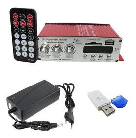 Mini Módulo Amplificador 2 Canais Fonte Adaptador Bluetooth
