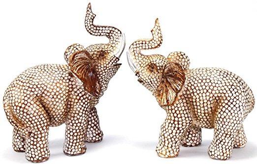 Feng Shui Precioso Par De Poliresina Trompa De Elefante Esta