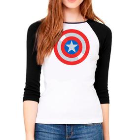 Playera De Mujer Escudo Capitan America