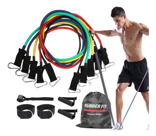 Imagem 1 de 7 de Kit Tubing 11 Pçs Elásticos Para Treino Exercícios Malhar