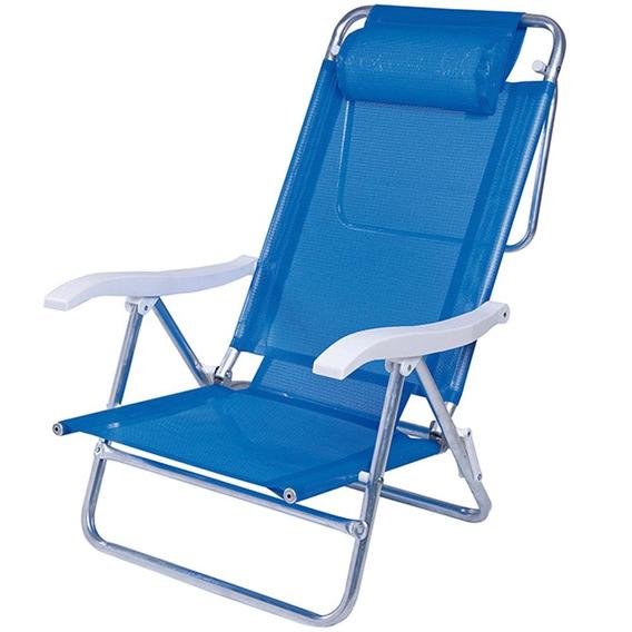 Cadeira Alumínio Sol De Verão Azul C/almofada 2490 Mor