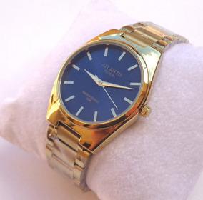 Relógio Masculino Feminino Dourado Social Aço Atlantis G3259
