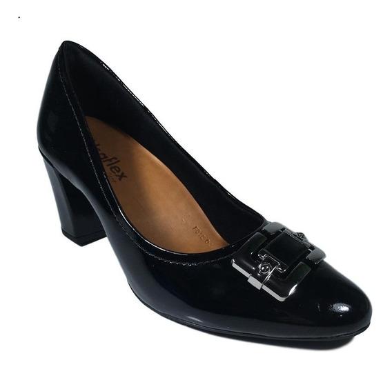 Scarpin Feminino Sapato Usaflex Verniz Preto Ab8403 Macio