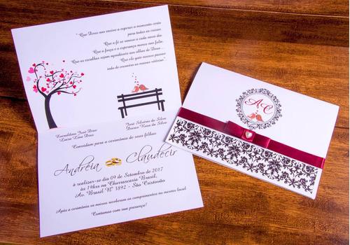 Imagem 1 de 9 de 70 Convites Casamento + Fita Cetim + 180 Individuais