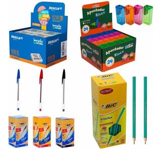 Kit C/3 Cx. Canetas+cx. Lápis+caixa Apontador+caixa Borracha